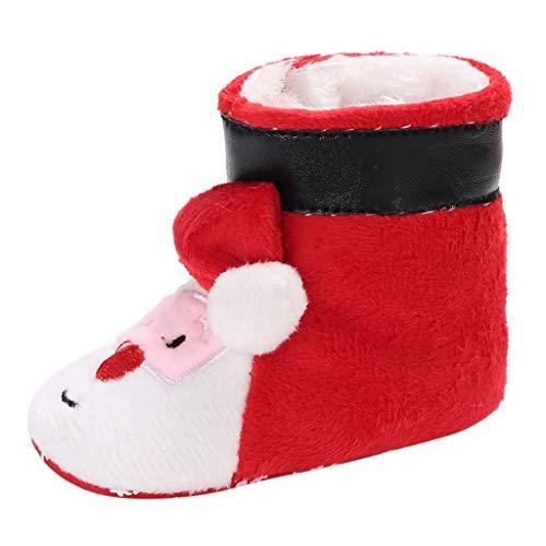 Sllowwa Babystiefel Kleinkind Weiche Sohle Boots Neugeborene Warm Gefüttert Schuhe Plus samtwarme(rot,12) (Billig Krippe Kostüm)