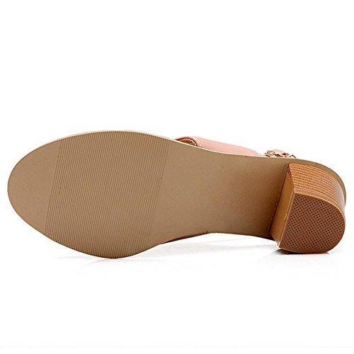 TAOFFEN Damen Mode-Event Flip-Flops Open Back Schnalle Blockabsatz Sandalen Pink