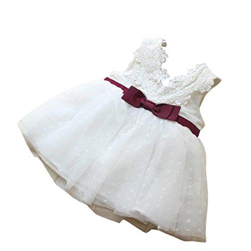 der Baby Kinder Bogen Spitze Kleider Ärmellos Sommerkleider Brautjungfer Hochzeit Kleid Festzug Mädchen Prinzessin Tutu Tüll-Kleid Karneval Party Kleid (White, 80-85CM 2Jahre) (Karneval Tutu)