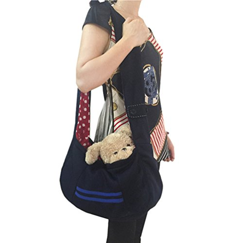 SAMGOO Mode komfortabel Vlies Haustier Tasche Hundetasche Pet Rucksack Umhängetasche Messenger Bag für klein Haustier Katze Hunde Welpen (marineblau)