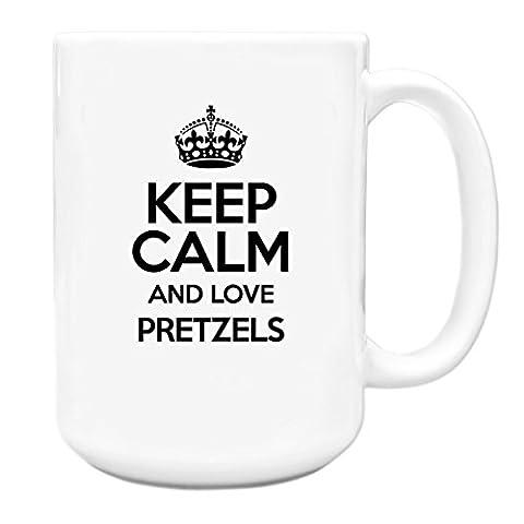 BLACK Keep Calm and Love Pretzels Big 15oz Mug TXT 2850