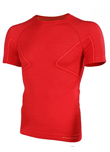 BRUBECK® SS11710 ACTIVE WOOL Herren Shirt | Merino | Sport | Fitness | Funktionswäsche | Unterhemd, Größen:L;Farbe:Red
