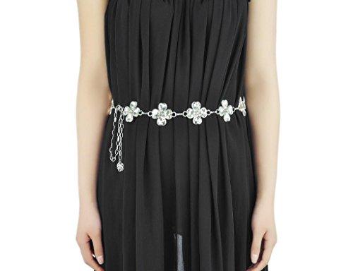 ELECTROPRIME® Elegant Lady Four Leaf Clover Rhinestone Chain Belt Waist Chain for Cocktail