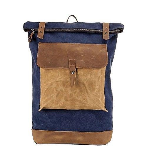 Bold Manner Unisex Rucksack Retro Reisetasche Herren Laptoptasche Damen Schultertasche Leder + Canvas Blau