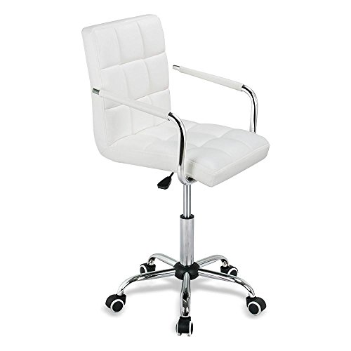 Popamazing 9 Grid Swivel PU Leather Office Chair Kitchen Breakfast Bar Barstool Computer Chair Desk Chair Gas Lift Swivel Chair Bar Chair (White, Wheels)
