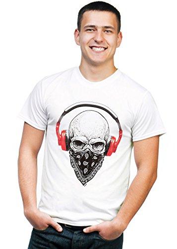 Retreez T-Shirt mit Totenkopf-Motiv Hip-Hop DJ mit Kopfhörer und Gesichtsmaske Bedruckt - Weiß - X-Klein -