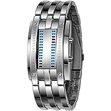 Bestow Reloj de Acero Inoxidable LED de Acero Inoxidable de Fecha de Lujo para Hombres Pulsera