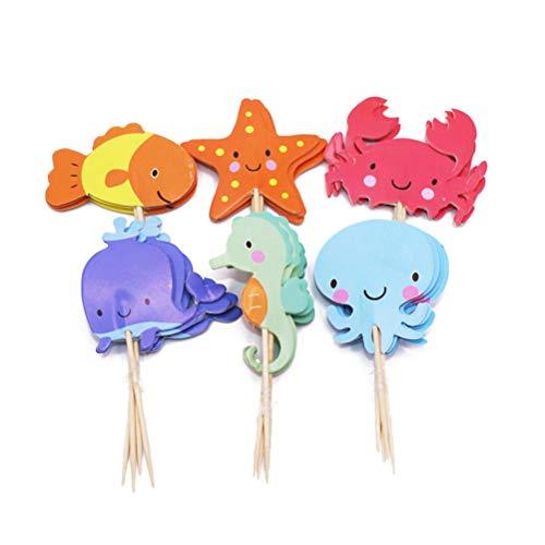 YeahiBaby Lindo Animal Marino Cake Topper Decorativos Cupcake Recoge Postre decoración de...