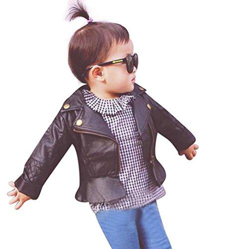 Bluestercool Kleinkind Baby Mädchen Mode Leder Jacke Reißverschluss Outwear Mantel (90, SCHWARZ) (Schwarze Leder-jacke Für Kleinkinder)