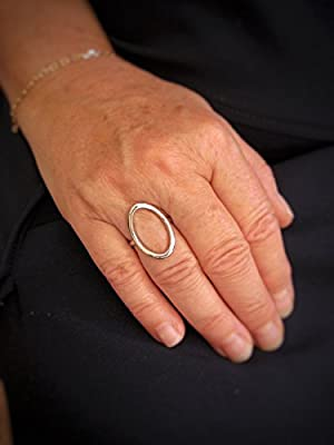 Bague cercle - Ovale évidé - Bague anneau Bague rond en argent massif. Bague Minimaliste