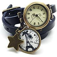 montre en cuir bracelet 3 rangs cabochon bronze illustré vintage, noeud, paris, pois, tour eiffel