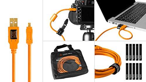 Tether Tools btk29Starter ING Kit, inklusive Pro USB 2.0A Stecker-Mini B 8Pin 15'Kabel, jerkstopper Kit, Fall, Kabelbinder, Orange Mini Usb-kabel Kit