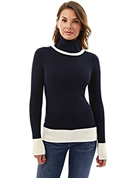 PattyBoutik Damen Rollkragenpullover aus weicher Strickware mit colour blocking
