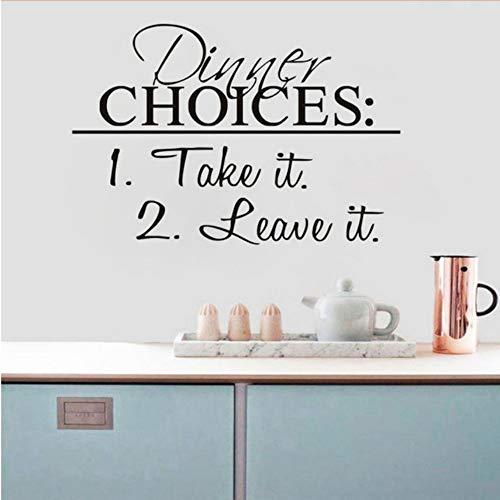 Xbwy Nehmen Sie Oder Lassen Sie Abendessen Wandaufkleber Pvc Wasserdichte Tapete Schwarz Küche Abendessen Restaurant Wand Dekor 43X29 Cm (Für Themen Familien Abendessen)