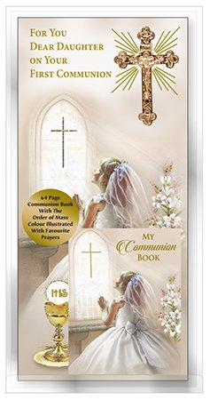 Für sie Dear DAUGHTER On Your First Communion Karte Gold Metall Kreuz & Kommunion Buch ~ HEILIGE KOMMUNION