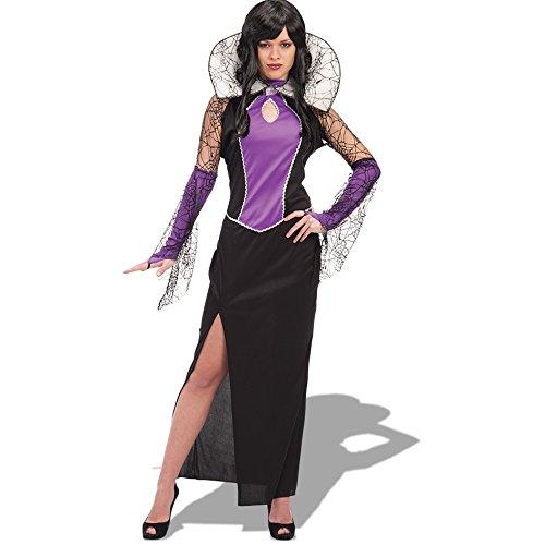 Carnival Toys 82057 - Spinnenfrau mit Kragen, Kostüm, Größe M-L, schwarz/lila (Schwarze Spinnenfrau Kostüm)