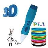 3D Stift, 3D Druckstift mit 1.75mm PLA-Faden-Satz,Der Stift für einen 3D Druck, ist ein großes Geschenk, für Kinder, Erwachsene, für Graffiti, Malerei, Kunstliebhaber und für selbst gestaltete Kunstwerke(sky blue)