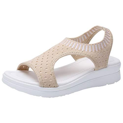 MakefortuneDamen Plateau Sandalen mit niedrigem Keilabsatz und offener Zehenpartie Sommer Flats Slip On Espadrille T-Strap Schuhe