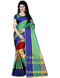Trendz Women's Cotton Silk Saree With Blouse Piece (Tz_Sona,Multicolor,Free Size)