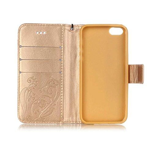 iPhone Case Cover Peint de couleur motif portefeuille style cas magnétique conception flip folio PU Housse en cuir couvrir cas standup pour iPhone 5S SE ( Color : Red , Size : IPhone 5S SE ) Gold