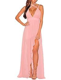 3273ddaa11ae5 BoBoLily Donna Vestiti Chiffon Lunghi Eleganti Da Cerimonia Estivi Con Spacco  Vestito Impero Da Sera V