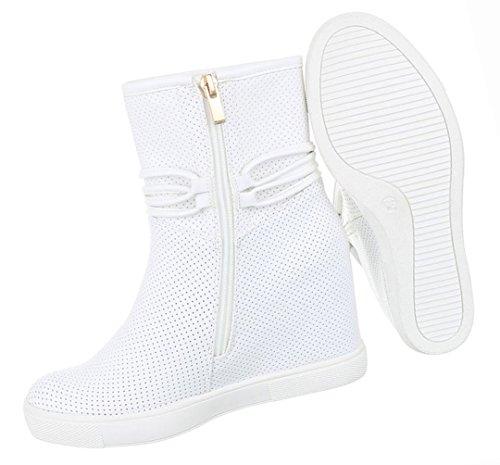 Damen Schuhe Stiefeletten Stiefel Perforierte Keil Wedges Boots Schwarz Weiß