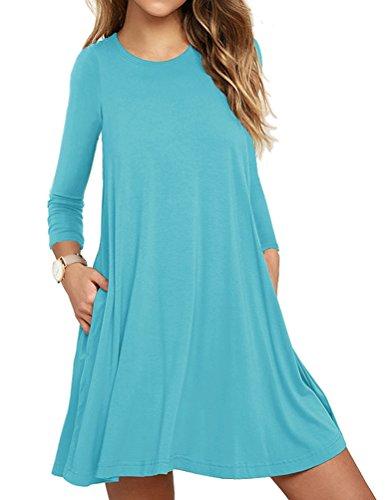 LILBETTER Womens Basic Langarm Causal Tunic Top Mini T-Shirt Kleid (Nilblau S) (Frauen Spandex Kleider)