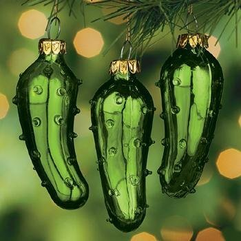 One (1) Hand Blown Green Glass Legend of the Pickle Tradition Ornament for Good Luck Christmas Tree Party Favor or Gift Giving by Knextion (Pickle Ornament)
