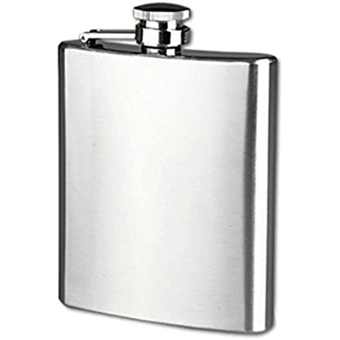Longra Hip acero inoxidable de bolsillo frasco de alcohol del whisky licor Tapón de tuerca + Embudo (Size:8