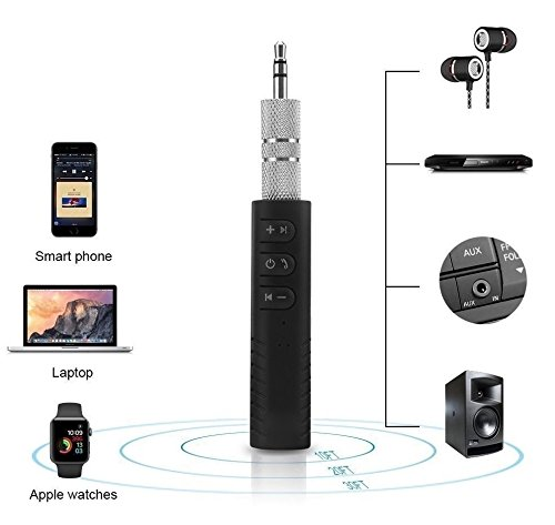 Rewy Universal 3.5mm Jack Bluetooth V4.1 Hands Free Music Audio Receiver Adapter AUX Kit Compatible with All Android and iOS Devices {Assorted Colour}