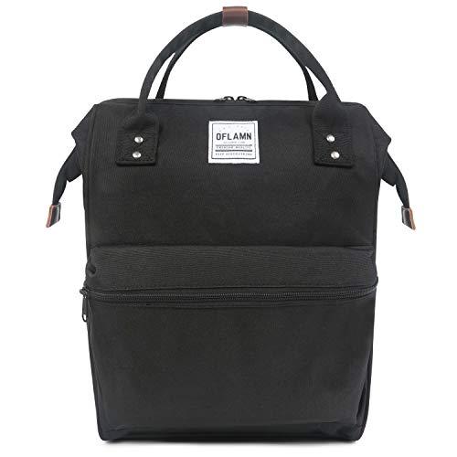 Oflamn Zaino Scuola Vintage per Uomo e Donna - Zaino Laptop per 14' - Zaino da Viaggio in Tela - Leather Canvas School Backpack (3.0 Dark Black)