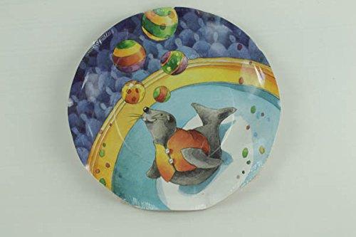 10 assiettes plates festonnées motifs cirque Ø 24 cm [010647]