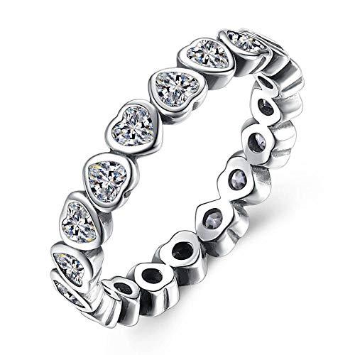 Ywring anelli in argento sterling 925 con zirconi brillanti a forma di cuore retrò per le donne anniversario di matrimonio,argento,7
