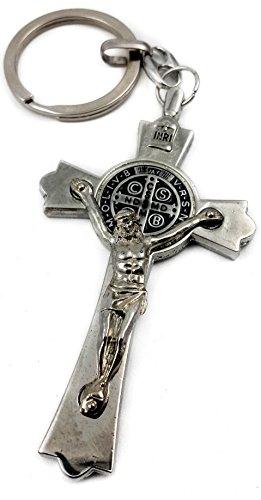 Nazareth store medaglia san benedetto croce croce portachiavi cattolica portachiavi fascino di gerusalemme 3