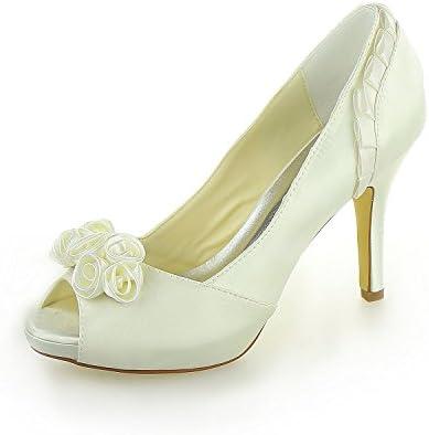JIA JIA Zapatos de Novia de Las Mujeres 37028 Peep Toe Estilete Tacón Plataforma Satinada Zapatillas Satín Flor...