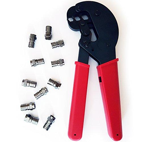 Cablefinder Pro F-Stecker Hex Crimpzange & 10x RG6Stecker F-Stecker-Antennen/Koax-Crimper CT100Sky-Satellite Kabel Schraube zudrücken - Hex-crimp-f-stecker