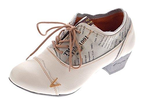 TMA Damen Comfort Schnür Pumps Weiß-Creme Echtleder Trichterabsatz TMA 6161 Leder Schuhe Gr. 40