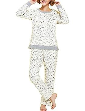 DMMSS Signore camicia da notte in cotone girocollo manica lunga Plus Size Sleepwear Casual , m