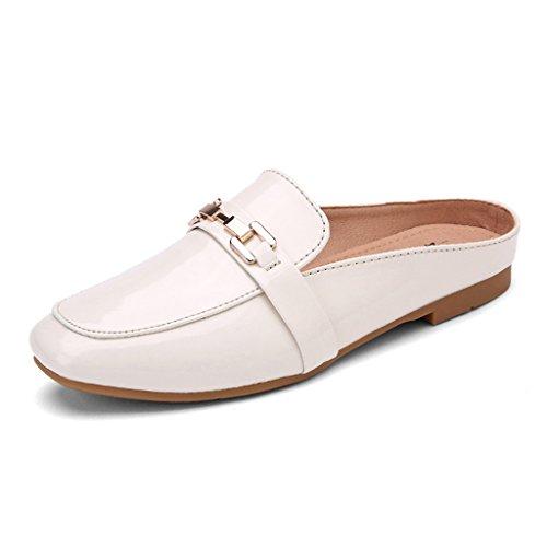 HWF Chaussures femme Printemps Shallow Mouth Simple Femmes Chaussures Lazy Half-pantoufles Tête Carrée Plat Muller Britannique Style Casual Chaussures Femme ( Couleur : Noir , taille : 36 ) Beige