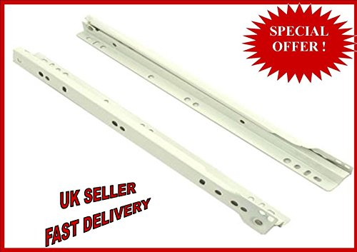 Roller Drawer Slides / Runners Bottom Fix Metal White Size 400mm by GTV