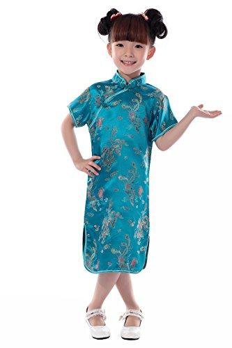 YueLian Cheongsam Mini per Bambina Vestito a Maniche Corte con Disegno di Drago e Fenice (2-3 anni, Blu lago)