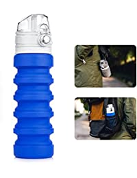 Aesy Botella de Agua de Deportes, Plegables de Silicona a Prueba de Fugas Ecológico Reutilizable