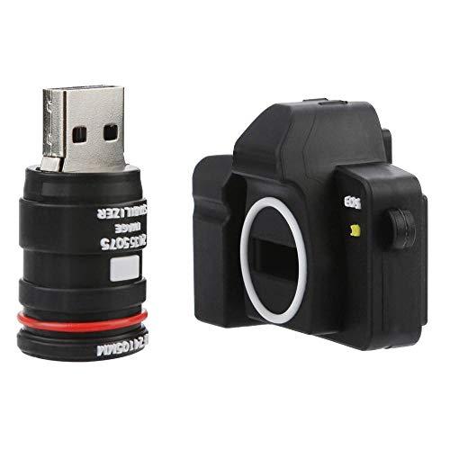Tonsee 4GB/8GB/16GB/32GB/64GB/128GB USB 2.0 USB Neuheit Mode Kamera Form Flash Laufwerk Speicher Daumen Stick schieben (128GB, Schwarz)