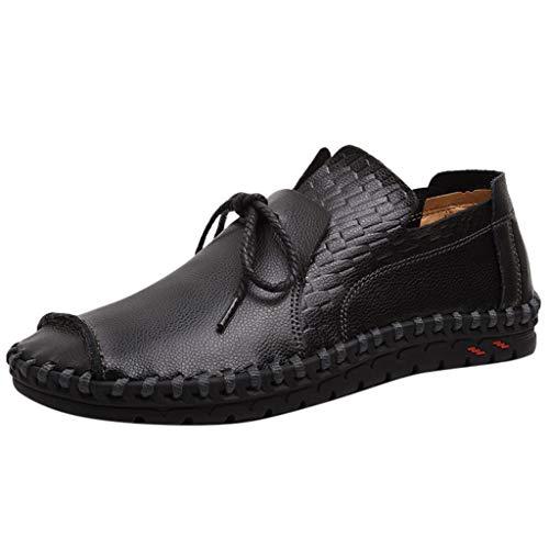 Herren Freizeitschuhe Slip On Mokassins Hand Stitching Lace-up Rutschfeste Lässige Walking Sneaker Rutschfeste Müßiggänger Runde Zehe Bootsschuhe (12 Jordan Männer Schuhe Größe)