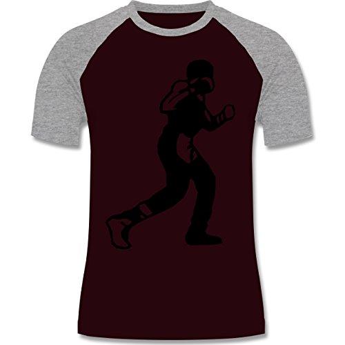 Kampfsport - Boxen - zweifarbiges Baseballshirt für Männer Burgundrot/Grau meliert