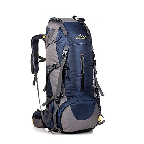 50L Bergsteigen Rucksack mit Regen Abdeckung Nylon leichte tragbare Tasche für Camping Wandern unterwegs Reiten H60 x L30 x T20 cm Dark Blue