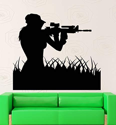 jiuyaomai Kunst Luftwaffe Frau Sniper Soldat Wandaufkleber Art Design Home Wohnzimmer Kreative Wandbild Mädchen Sniper Silhouette Deca 57x71cm