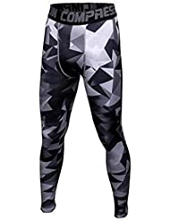 Vertvie Men's Sports Compession Pants Tight Camouflage Leggings Baselayer Tight Running Workout Trousers