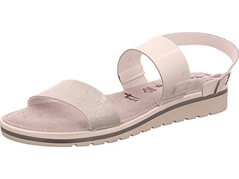 Tamaris Damen Sandaletten Weiß/Silber, Schuhgröße:EUR