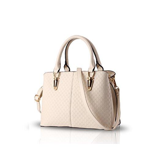 NICOLE&DORIS tendenza della borsa di modo femminile grande borsa retrò borse sacchetto di spalla casuale borsa Messenger per le donne(Rose�?Creamy-white